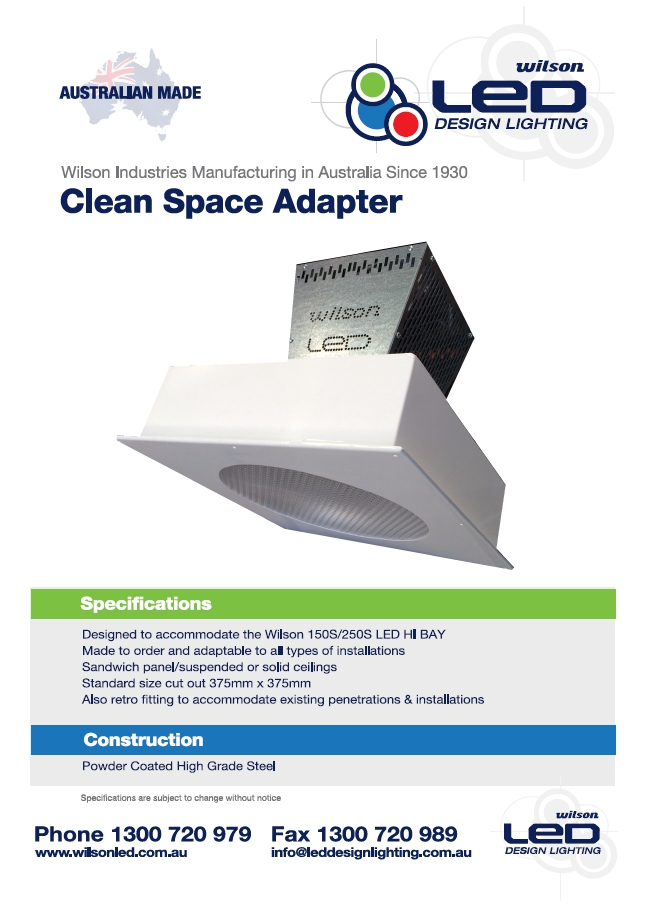 Wilson Clean Space Adapter LED Brochure Image