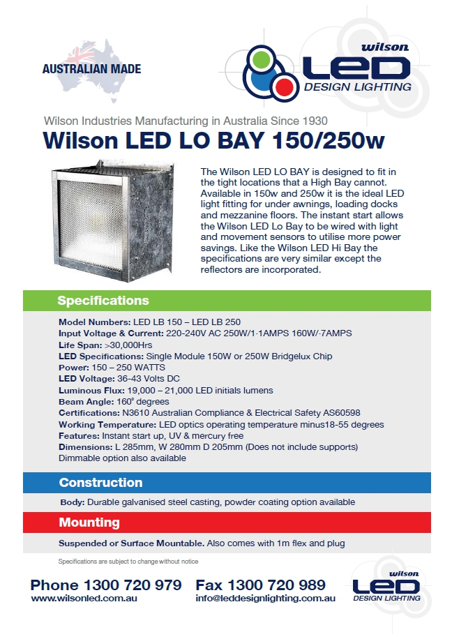 Wilson Low Bay Lighting Brochure Image